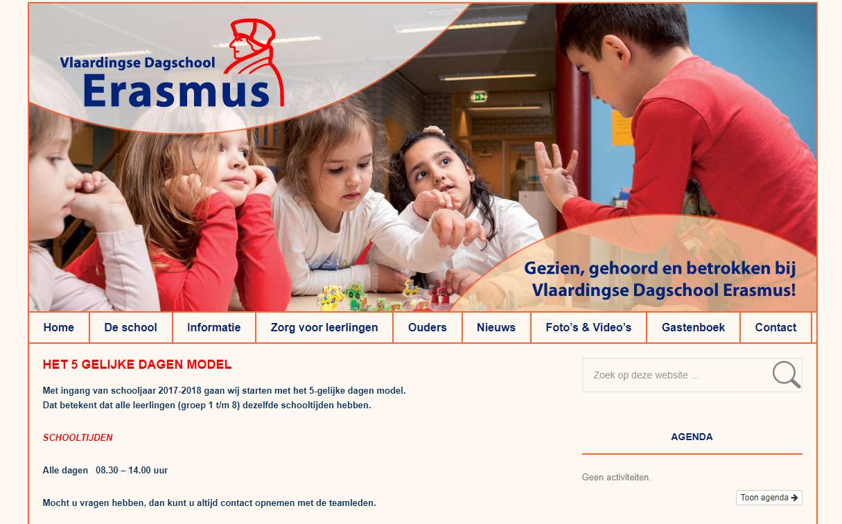 Geknipt deel van site Vlaardingse Dagschool Erasmus